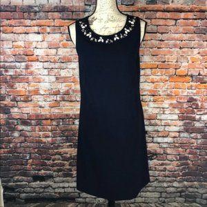 Eliza J navy bejeweled neckline sleeveless dress